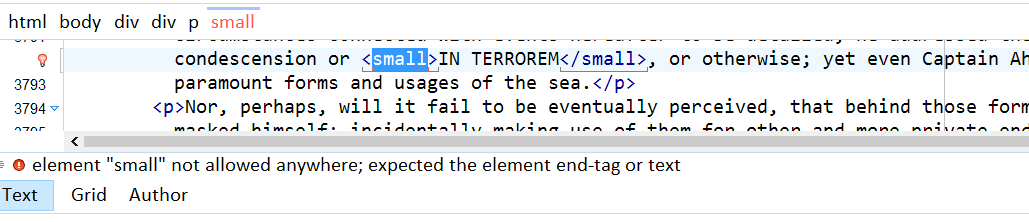 a small element that is deprecated in FX is flagged as invalid in Moby Dick