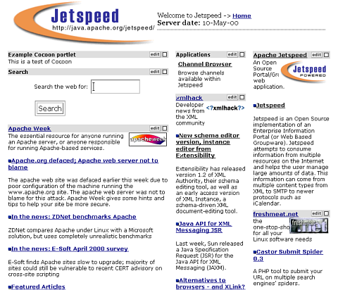 Default Jetspeed Home Page