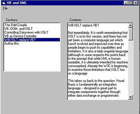 XML and Visual Basic