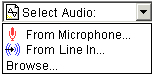 example of audio/* input. A drop-list with choices 'From Microphone...', 'From Line In...' and 'Browse...'