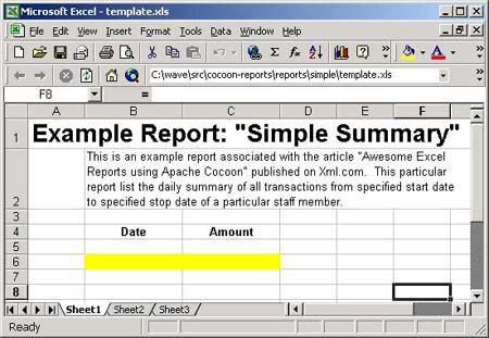 Simple Example Report Template in Excel