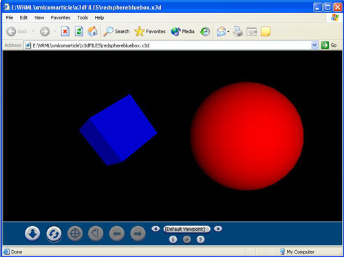 Red Sphere Blue Box X3D Example.