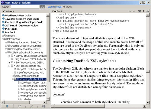 Screen shot of large DocBook document displayed inside the Eclipse help system.