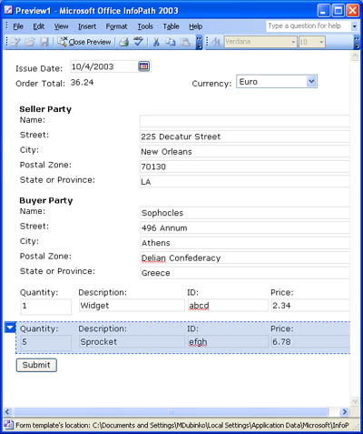 The data entry view of Microsoft InfoPath