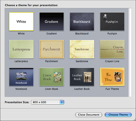 Screenshot of Keynote's theme selection dialog