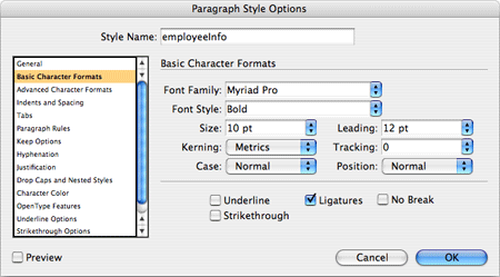 A screenshot illustrating how paragraph styles are defined through InDesign's interface.
