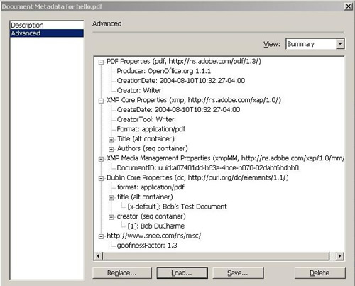 Acrobat Professional Document Metadata screen shot